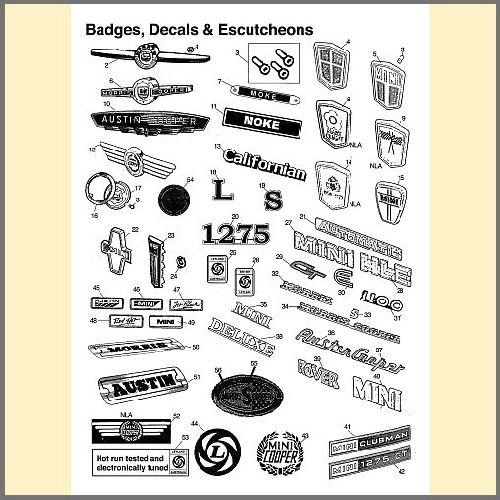 Badges, Decals, Stickers & Escutcheons
