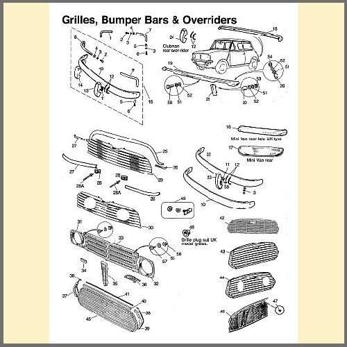 Grilles, Bumpers, Overriders & Flares
